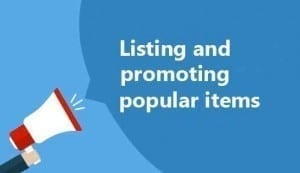 Listing and promoting popular items
