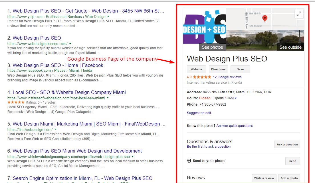 How a Google Business page looks like