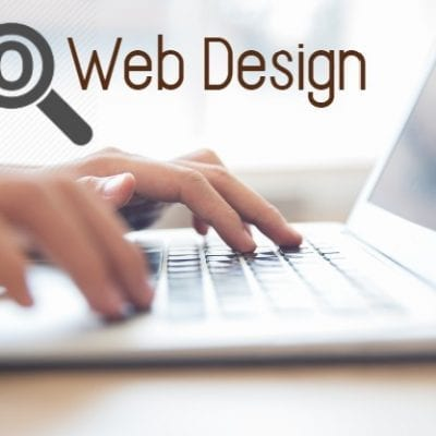 seo web design text on a laptop
