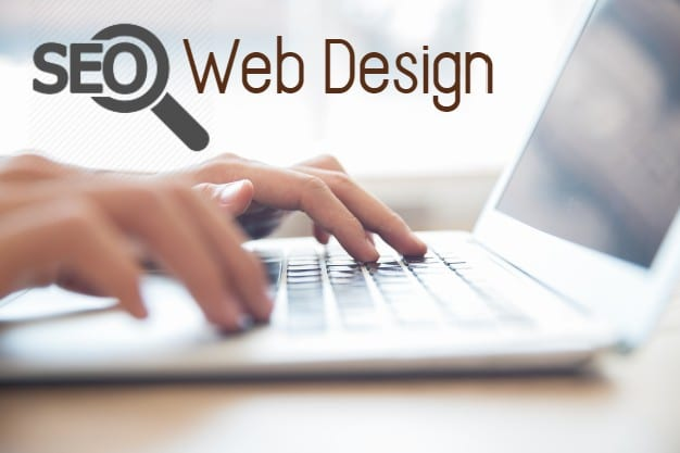 seo web design text on a laptop